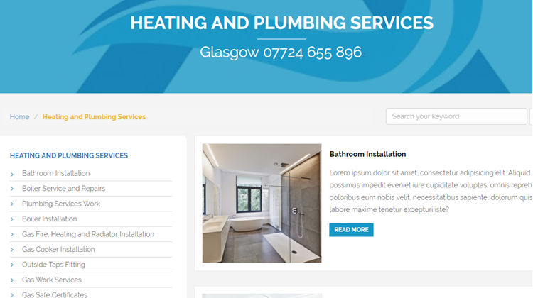 New Umbraco Glasgow Plumbing Web Site in Development for Launch in January 2017